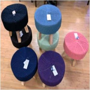 Wooden stool  with Knitted Top Stock