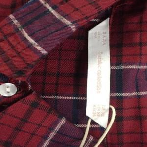 Brand - ZARA   Yarn Dyed Check embroidered shirt Stock