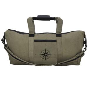 Genuine Leather & Recycled Stone Washed Canvas Duffle Bag for Gym & Travel
