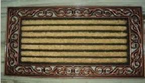 fancy color coir brush rubber grill mat