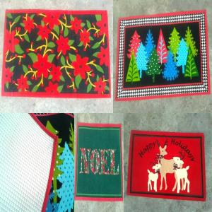 Latex Backed Printed Canvas Rugs in Christmas Des