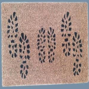 Rubber Backed Coir Natural Printed Mat