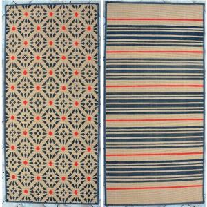 Reversible machine made jute printed rug
