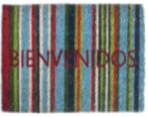 PVC Coir Door Mat Rectangular Natural Stencilled