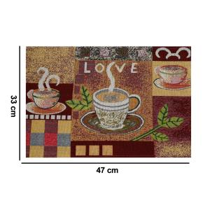 Set of 6 Pcs Cloth Placemats 100% Cotton Printed Cup of Hot Coffee Love Romantic Artwork, Jacquard Collection Machine Washable, Anti Skid Everyday Use for Dinner Table By MyMadison Home (13 X 18 Inch) (Multi Shaded)