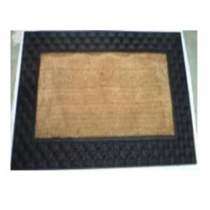 Rubber moulded coir Basket weave mat stock.