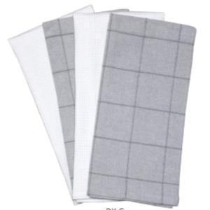 Set of 4 Kitchen Towel- Waffle + Dobbie