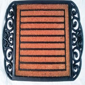 COIR BRUSH RUBBER GRILL MAT STRIPE Single DESIGN