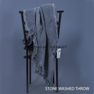STYLE NUMBER HT- 6004 GREY THROW STONE WASHED  SIZE SIZE - 120X170 CM. MATERIAL COTTON 100 % NAME OF CLOTH HONEY COCMB/BASKET MAKE WOVEN GSM .450 GMS WASHING MACHINE WASH IN 40 D