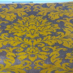 100% POLYESTER JACQUARD VELVET_LIME + BROWN_DAMASK