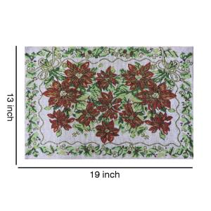 Set of 4 Cloth Cotton Placemats, Red Flowers and Green Leaves, 100% Cotton Designer Jacquard Collection, Machine Washable, Everyday Use for Dinner Table By MyMadison Home (13 X 18 Inch) (Navy Blue)