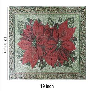 Set of 4 Dinner Dining Table Placemats 100% Cotton Red Flower Designer Jacquard Collection, Machine Washable, Anti-Skid Everyday Use Home By MyMadison Home (13 X 18 Inch)