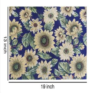 Set of 6 Cloth Cotton Placemats Sunflower Table Mats Designer Printed Jacquard Collection Machine Washable Everyday Use for Dinner Table By MyMadison Home (13 X 18 Inch) (Navy Blue)