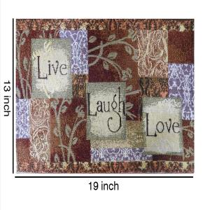 Set of 6 Cloth Cotton Placemats Live Laugh Love Printed Designer Jacquard Collection Machine Washable Everyday Use for Dinner Table By MyMadison Home (13 X 18 Inch) (Navy Blue)