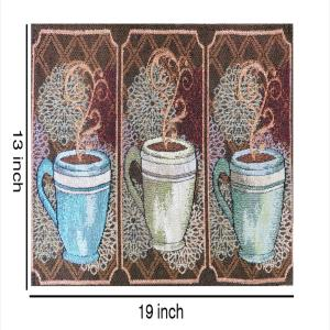 Set of 4 Cloth Cotton Placemats Printed Coffee Mugs Printed Designer Jacquard Collection Machine Washable Everyday Use for Dinner Table By MyMadison Home (13 X 18 Inch) (Brown)