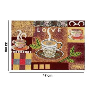 Set of 4 Pcs Cloth Placemats 100% Cotton Printed Cup of Hot Coffee Love Romantic Artwork,  Jacquard Collection Machine Washable Anti-Skid Everyday Use for Dinner Table By MyMadison Home (13 X 18 Inch) (Multi Shaded)