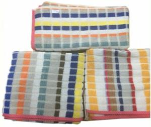 Yarn Dyed Organized Sheared Terry Bath Towel Stock