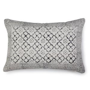 Sikar Block Print Lumbar Pillow, Natural - 16x23 inch
