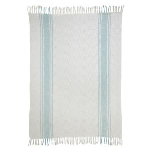 Aqua Stripe Beige Cotton Throw - 50x70 inch