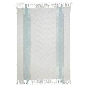 Aqua Stripe Beige Cotton Throw - 50x70 inch