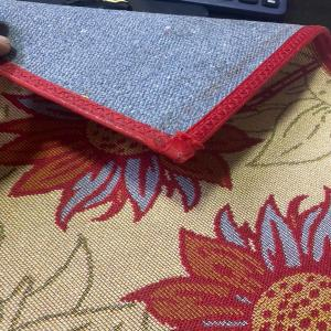 Jacquard Kitchen Mats with carpet backing.