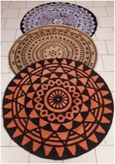 Round Braided Jute printed Rug