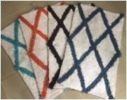 Cotton Shaggy Diagonal Stripe Bath Mat