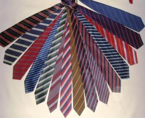 Woven Printed Stripes Tie stock