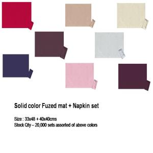 Solid color Fuzed mat + Napkin set
