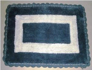 Designer  bathmat with Lace embroidery border