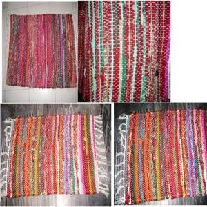 Embroidered  Chindi Rug