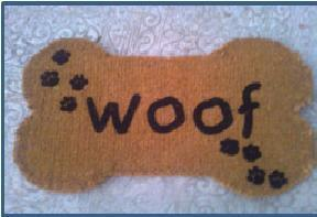 Flocked Print Coir Mats Stock  Bone Shape