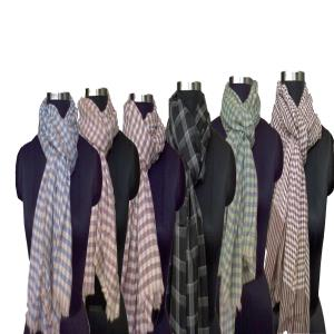 Wool check scarves.