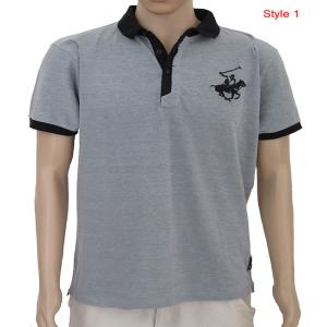 Mens Grindled Yarn Fancy Polo