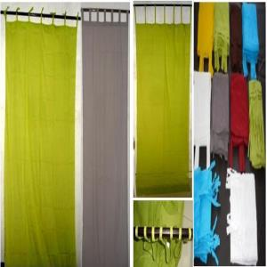 Cotton Voile Loops & Stringes Curtains